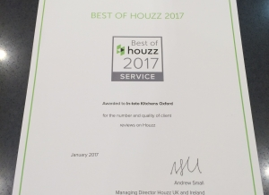 "Houzz 2017 ""Best of Customer Service"" Award for in-toto Oxford"